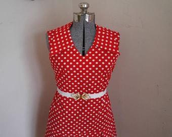 Red Polka Dot Dress Adorable 1960's go go dress