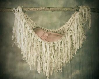 Fringe Prop Blanket Newborn Hammock Prop. Cream, White Green Fringe Blanket, Hand Knit Baby Photography Prop Photo Prop