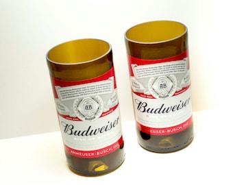 Beer Bottle Drinking Glasses Budweiser Tumblers Set Of 2
