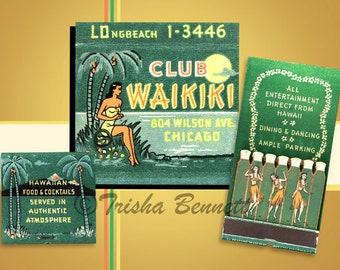 Hawaiian Poster or Print Tropical Decor Club Waikiki Matchbook Art Chicago Tiki Bar Decor Hula Dancers Tropical Decor Island Wall Art Decor
