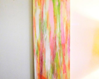 Abstract Wall Art SPRING Cream Salmon Lime Gold Yellow Copper Acrylic Canvas Contemporary Modern 12 x 36 Office Home Decor Room Fire Art