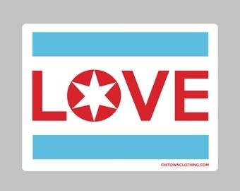 Chicago Flag LOVE Sticker