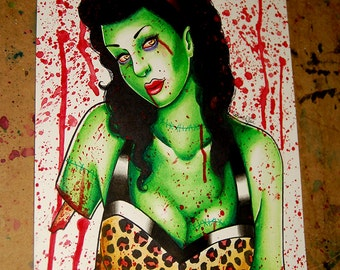 Original Undead Zombie Pin Up Girl Watercolor Painting - Zombie Doll 8
