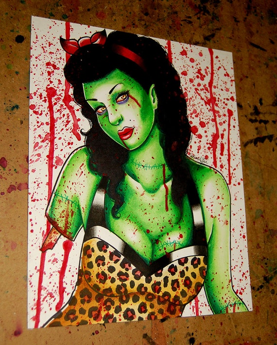 20 PERCENT OFF Original Undead Zombie Pin Up Girl Watercolor Painting - Zombie Doll 8