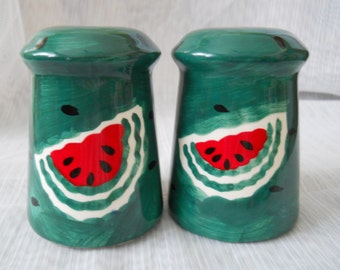 Green Watermelon Salt and Pepper Shakers - vintage, collectible, fruit