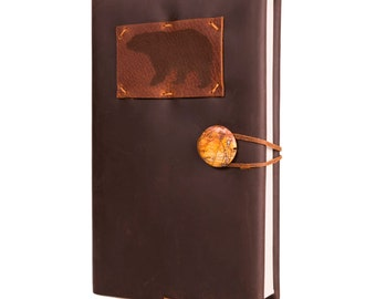 "Whiskey Bandito Leather Journal with Black Bear and Picasso Jasper 5.5"" x 8"""