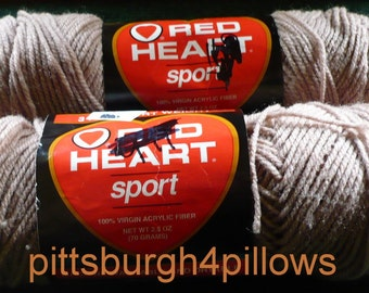3 - Red Heart - Sport - 2.5 Ozs. - Virgin Acrylic - 2 - 322 Fawn Beige - 1 - 0001 - White  - Read Below - Price Is For All