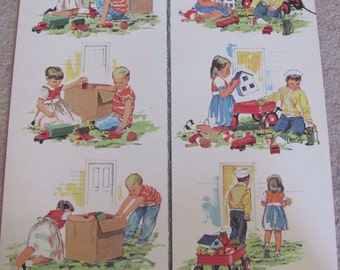 """Large Vintage Illustrated Classroom School Poster 2 Sided -- 20"""" x 25"""" Children - Many to choose from!"""