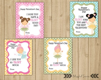 Kids Valentine Cards | Pink Fairy Valentine Cards | Valentine for Girls | Set of 4