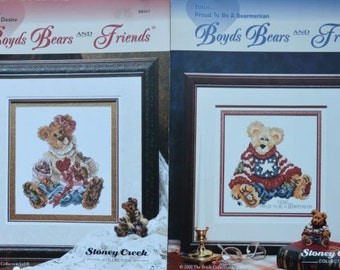 Bailey…Hearts Desire  + Eddie …proud to be a Bearmerican  – Boyds Bears and Friends by Stoney Creek #BB001, #BB002 – Cross Stitch Charts