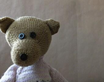 teddy bear, soft toy, hand knitted woolly teddy bear