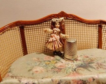 Flora, tiny porcelain doll for your miniature doll.