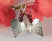 HOLIDAY SALE Silver Heart Earrings , Christmas Gift For Women Garnet Earrings Sterling Silver Earrings , Heart jewelry , Gift for Teens Roma