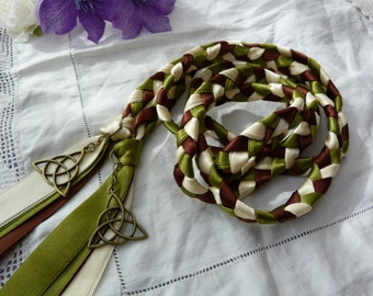 Celtic triquetra knot hand fasting wedding cord - chocolate brown, ivory and moss green with bronze charms