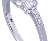 14K White Gold Asscher Cut Diamond Engagement Ring Bezel Set 1.40ct I-VS2 EGL US