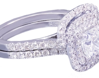 18K White Gold Cushion Cut Diamond Engagement Ring And Band 1.85ct G-VS2 EGL USA