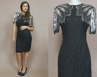 Sequin Dress 80s Trophy Dress Silver Black Feather Silk Beaded Strong Shoulders 1980s Party Dress Holiday Open Back Scala / Size M Medium