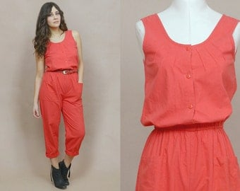 80s Jumpsuit Red Sleeveless Pockets Coveralls Peg Leg 1980s Hipster Tapered Pants Button Up Grease Monkey / Size S Small