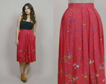 Bird Print Skirt Novelty HORSES Midi Skirt Red 80s Nature Scene Kitsch Boho Hippie / Size M Medium