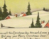 Sleepy Snow Covered Village Fresh Fallen Snow Unused Vintage Christmas Postcard – Delightful Winter Scene – Sandford Card Co
