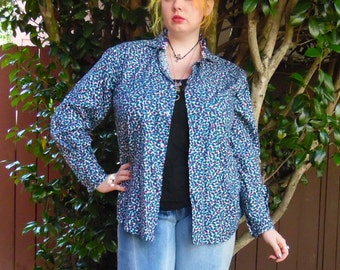 90s Tiny Paisley All Over Hippie Boho Work Shirt Button Up Mens L XL