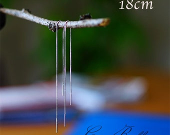 Long Thread Delicate Minimal Earring 925 Sterling Silver - 18cm / 14cm / 12cm