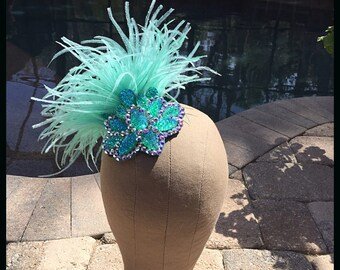 Swarovski Crystal AB Mint Green Feather Hairpiece Haircomb