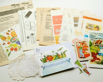 Retro cooking-themed bits and pieces for makers - vintage paper ephemera pack