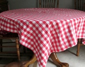 Red and White Checkered Farmhouse Oblong Tablecloth Rectangular Cotton