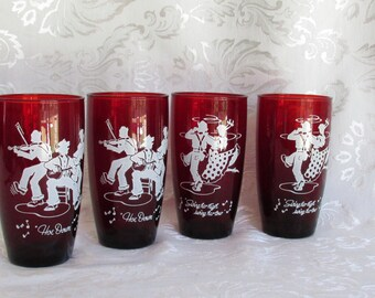 Anchor Hocking Royal Ruby 4 Hoe Down Collection Anchor Hocking Square Dance Royal Ruby Drinking Glass Tumblers