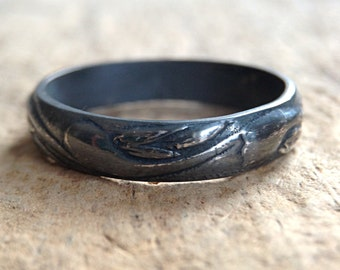 Black Silver Ring Band, Sterling Silver Flourish Ring, Oxidized Ring, Sterling Silver, Pattern Ring, Bohemian Ring, Mother's Day