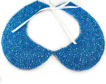 Blue Collar Necklace - Tie On - Collar Necklace - Detachable