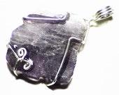 SALE Lavender Scapolite Crystal Slice Pendant (21 ct.) Raw Crystal Pendant, Rough Crystal Necklace, Rough Scapolite Jewelry Sterling Silver