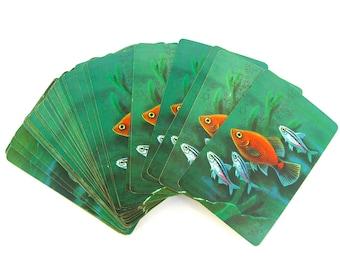 3 Deck Vintage Congress Playing Cards, Samba or Bolivia, Tropical Fish Original Box, Game Night, Family Fun, Colorful Orange Goldfish