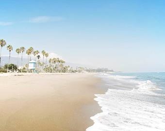 Santa Barbara Beach, California, Beach Art, Photography, Seascape, Coastal Wall Art, Santa Barbara, Palm Trees, Ocean Waves, Beach Art