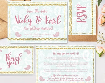 Wedding stationary suite - custom invitation, save the date, thank you card & RSVP printables personalised for your event