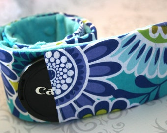 Camera Strap Cover with Lens Cap Pocket - Padded Minky - Photographer Gift - Aqua and Navy Flowers with Aqua Minky