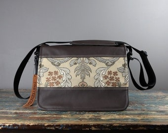 Large Camera Bag - IN STOCK -  Gray Tan Brocade Large sized Canvas and Leather DSLR Camera Bag