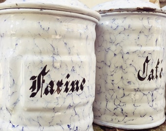 Set of 6 Antique French Enamel Canisters
