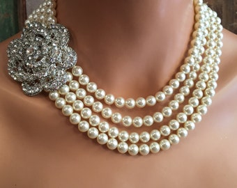 Complete Bridal Jewelry Set Pearl Necklace with Brooch Bracelet and Earrings 4 multi strands Swarovski pearls flower rhinestone wedding sets