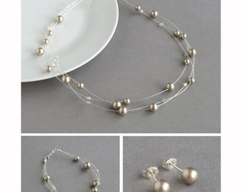 Champagne Pearl Jewellery Set - Taupe Floating Pearl Necklace, Bracelet and Stud Earrings - Beige Bridesmaid Gifts - Beige Wedding Jewellery