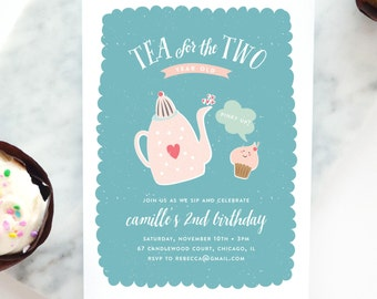 Tea For Two Birthday Party Invitation Second Girls