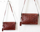Etienne Aigner Woven Leather Bag • Brown Leather Crossbody Bag • Red Brown Leather Woven Purse | B512