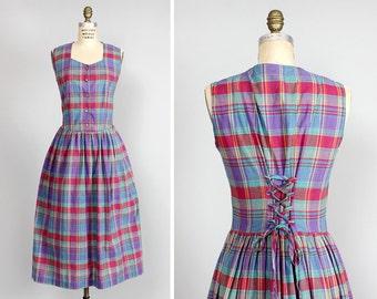 Lace-up Dress M/L • Madras Plaid Dress • Cotton Dress • Red Plaid Dress • Midi Dress with Pockets • Fall Dress • Princess Dress | D991