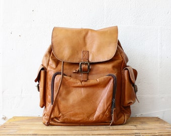 Tan Leather Backpack • Large Backpack • Leather Rucksack • Vintage Backpack • Backpack Leather • Brown Leather Backpack • Leather Bag  |B712