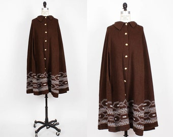 70s Poncho Cape • Brown Knit Button Poncho • Sturbridge Folk Coat • Long Poncho | O172