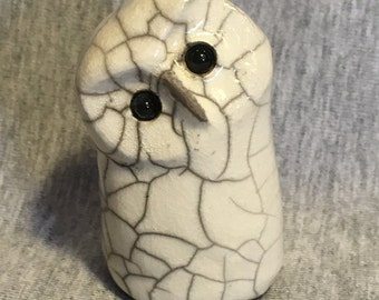 Smiles Unlimited Owl ceramic raku sculpture