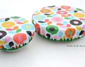 READY TO SHIP! Elastic Fabric Bowl Cover, Set of 2, Reusable Fabric Bowl Lid, Laminated Cotton in Retro Mod Floral