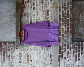 3X size / Puple flower Tunic/Hand-dyed/All New materials/Boho/Country living/Cottage Chic