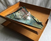 Vintage file tray   Molded wood 2 tier office file tray  mid century desk file